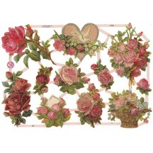 Pink Roses Floral Scraps with Glitter ~ Germany