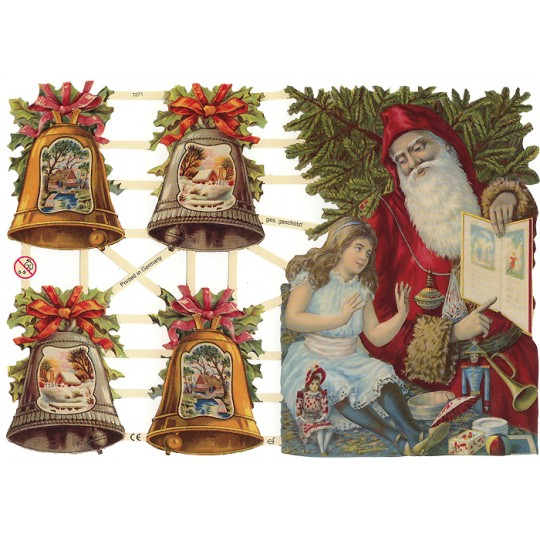 Victorian Large Santa and Festive Bells Scraps ~ Germany