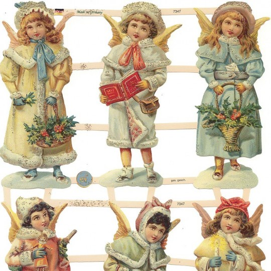 Victorian Snow Angels Scraps with Glitter ~ Germany