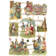 Victorian Bunny Easter Scraps with Glitter ~ Germany