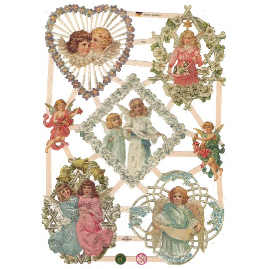 Lattice Framed Angels and Flowers Scraps with Glitter ~ Germany