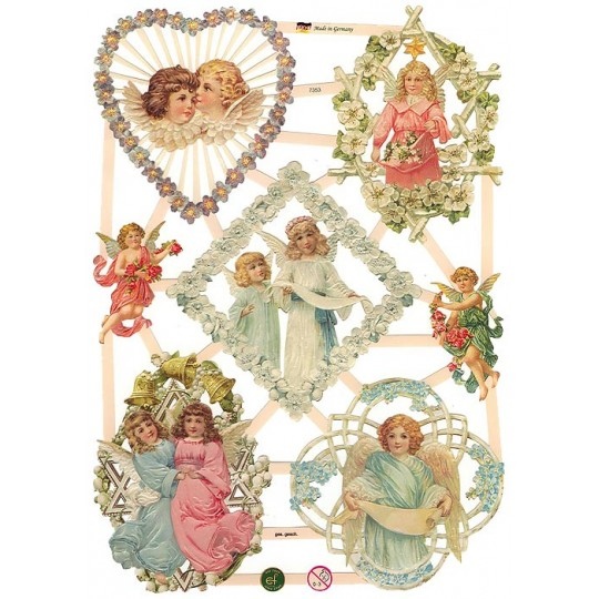 Lattice Framed Angels and Flowers Scraps ~ Germany