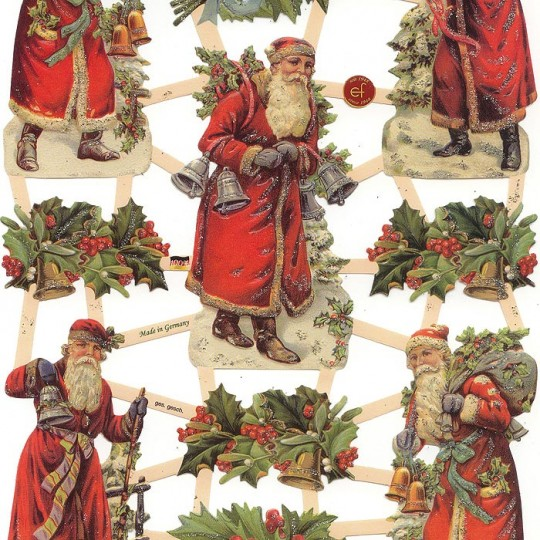 Santa & Holly Berry Scraps with Glitter ~ Germany