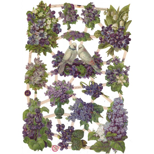 Violets, Lilacs and Doves Scraps with Glitter ~ Germany