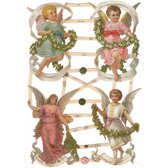 Large Angels and Cherubs Scraps with Glitter ~ Germany