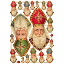 Old Fashioned St. Nicholas Scraps with Glitter ~ Germany