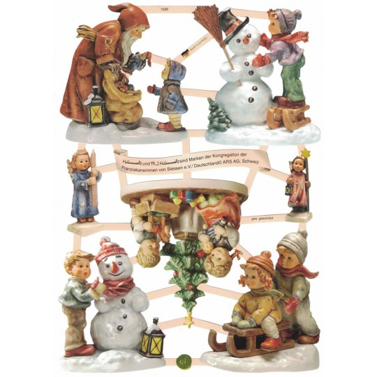 Charming Hummel Christmas Figurine Children Die-Cut Scraps ~ Germany