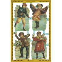 Large Victorian Children with Snowballs Scrap ~ England
