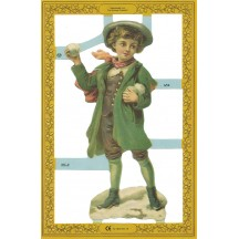 Large Victorian Boy with Snowball Scrap ~ England