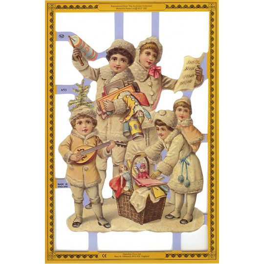 Christmas Decorations In Victorian England: Large Victorian Winter Children Scrap
