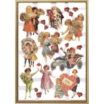1 Extra Large Sheet of Self-Adhesive Glittered Scraps Featuring Victorian Valentine Children ~ Holland