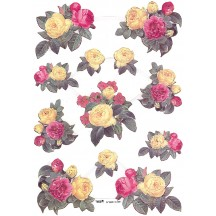 Extra Large Sheet of Pink and Yellow Rose Scraps ~ Foil Stamping ~ Holland