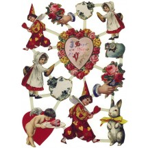 Rare Valentine Scraps with Clowns and Ephemera ~ Holland