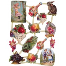 Victorian Vignette Floral and Bunny Scraps ~ Holland