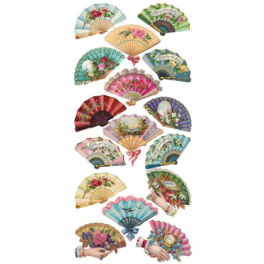 1 Sheet of Stickers Floral Fans
