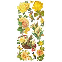 1 Sheet of Stickers Mixed Yellow Roses and Flowers