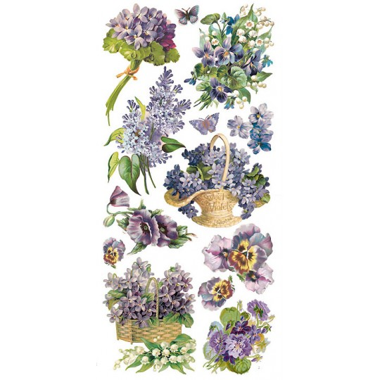 1 Sheet of Stickers Mixed Purple Flowers