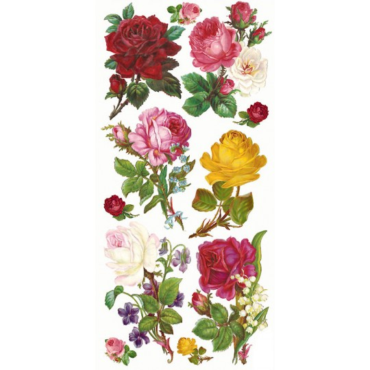 1 Sheet of Stickers Mixed Roses and Flowers