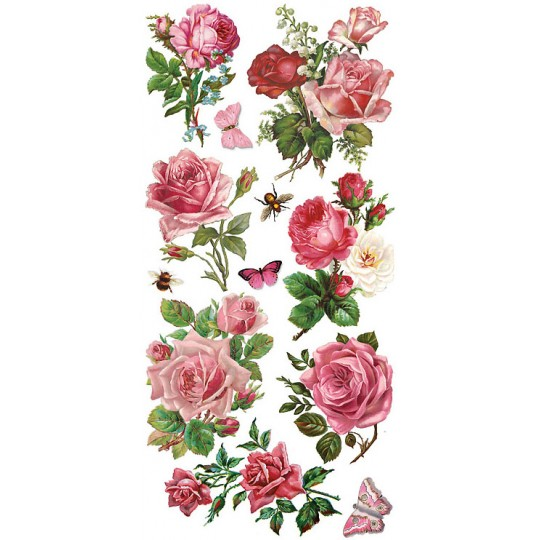 1 Sheet of Stickers Mixed Pink Roses and Flowers