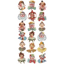 1 Sheet of Stickers Mixed Circus Clowns