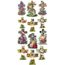 1 Sheet of Stickers Floral Easter Crosses