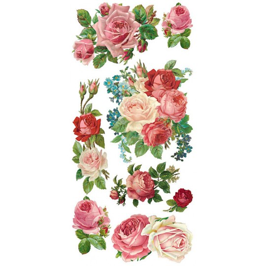 1 Sheet of Stickers Mixed Pastel Pink Roses and Flowers