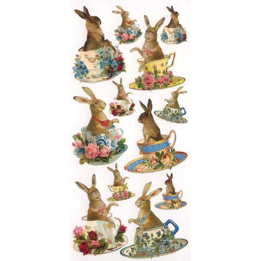 1 Sheet of Stickers Easter Bunnies in Tea Cups
