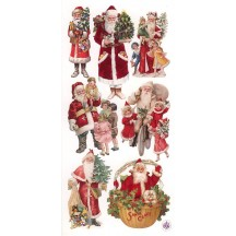 1 Sheet of Stickers Victorian Santa and Children