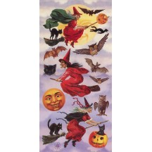 1 Sheet of Stickers Halloween Night with Witches