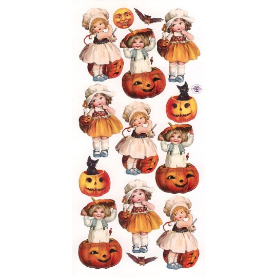 1 Sheet of Stickers Halloween Pumpkin Children