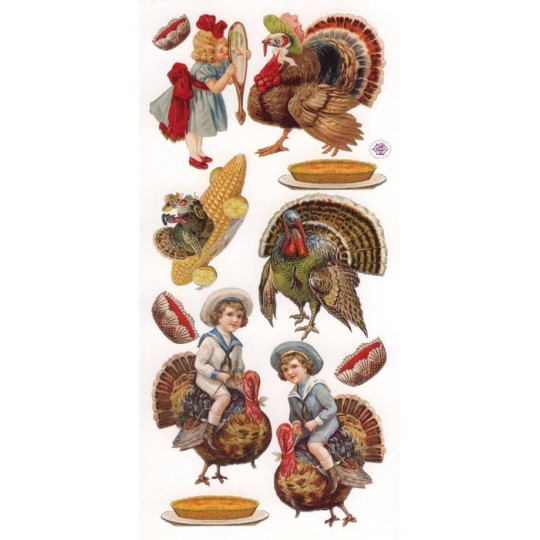 1 Sheet of Stickers Thanksgiving Children and Turkeys