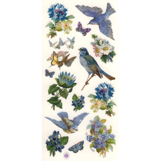 1 Sheet of Stickers Bluebirds and Flowers