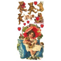 1 Sheet of Stickers Valentine Teddy Bears