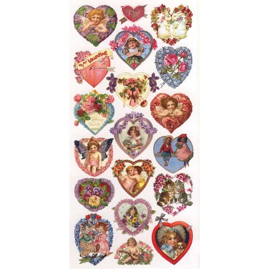 1 Sheet of Stickers Mixed Valentine Hearts