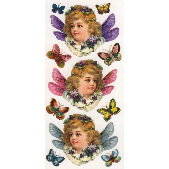 1 Sheet of Stickers Large Butterfly Girls and Butterflies