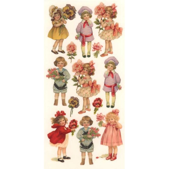 1 Sheet of Stickers Victorian Children with Flowers