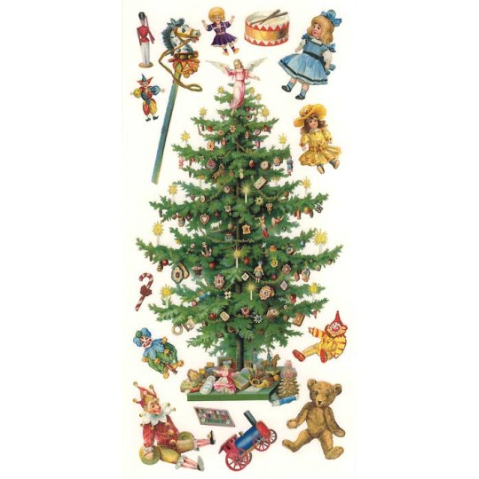 1 sheet of stickers victorian christmas tree and toys - Victorian Christmas Trees