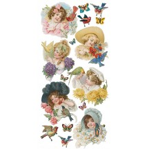 1 Sheet of Stickers Victorian Children with Flowers and Birds