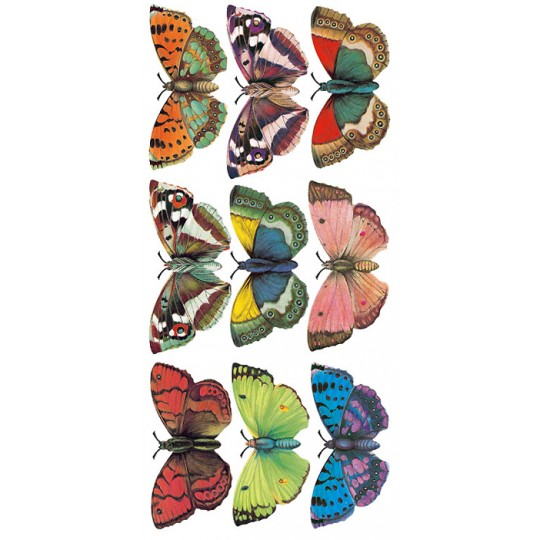 1 Sheet of Stickers Large Colorful Butterflies