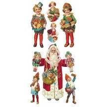 1 Sheet of Stickers Victorian Santa and Gingerbread Children