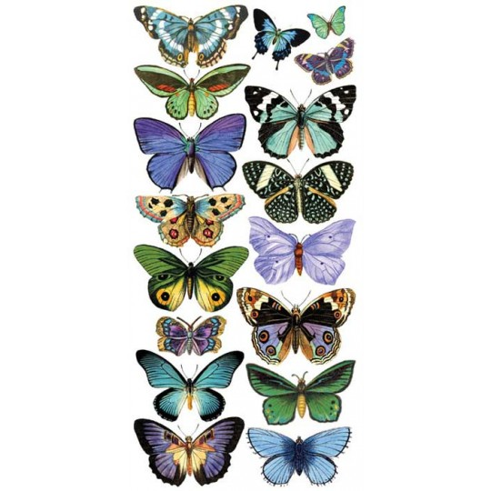 1 Sheet of Stickers Blue and Green Butterflies