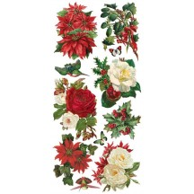 1 Sheet of Stickers Christmas Flowers and Roses