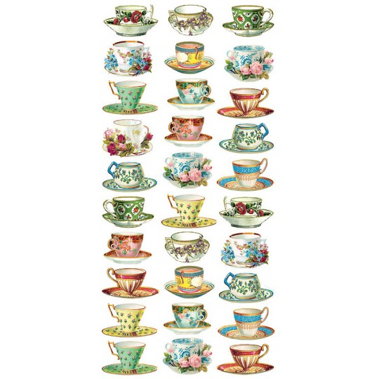 1 Sheet of Stickers Vintage Tea Cups