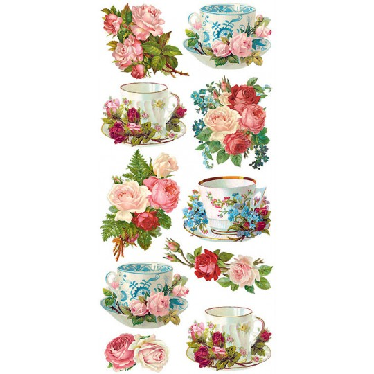 1 Sheet of Stickers Floral Tea Cups
