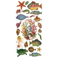 1 Sheet of Stickers Fish, Sea Shells and Under the Sea