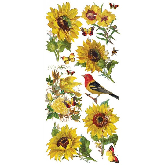 1 Sheet of Stickers Mixed Sunflowers, Birds and Butterflies