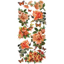 1 Sheet of Stickers Mixed Orange Roses and Flowers
