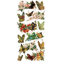 1 Sheet of Stickers Mixed Botanical Butterflies and Flowers