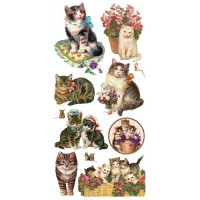 1 Sheet of Stickers Mixed Charming Kitty Cats