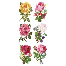 1 Sheet of Stickers Mixed Rose Bouquets ~ Trade Card Style